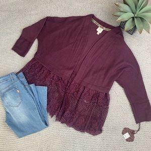 Knox Rose burgundy open dolman cardigan lace trim